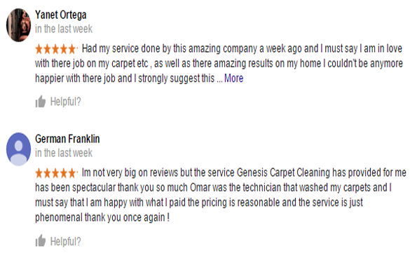 Reviews - Genesis Carpet Cleaning